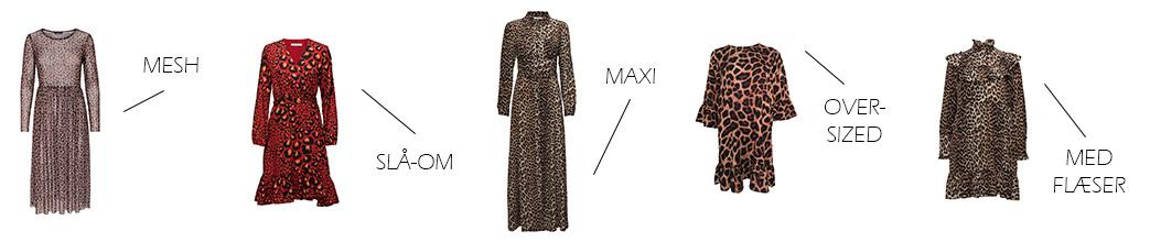 Leopard kjoler i forskellige designs