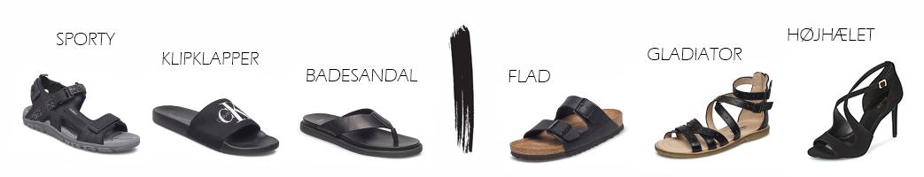 Sorte sandaler til herrer og damer