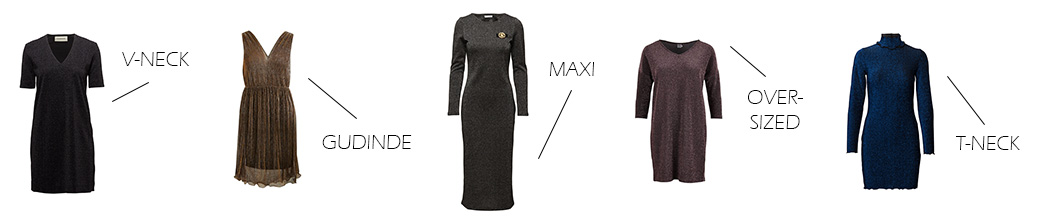 Glitter kjoler i forskellige designs