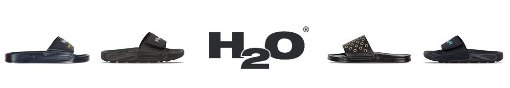 H2O logo og badesandaler med og uden velcro