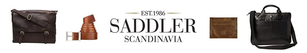 Saddler logo og tasker, bælte og en pung
