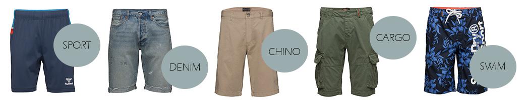 Herre shorts i forskellige styles og materialer