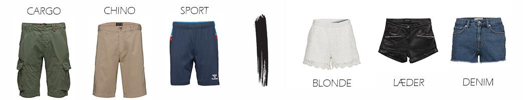 Herre shorts og dame shorts i forskellige designs