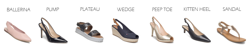Slingback sko i forskellige modeller