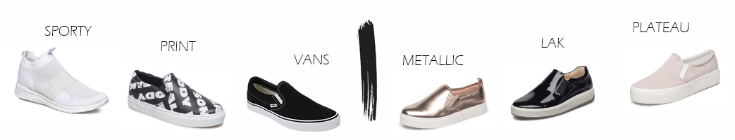 Slip-on sko til mænd og kvinder i forskellige designs