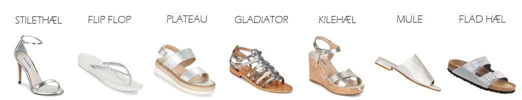 Sølv sandaler i forskellige modeller