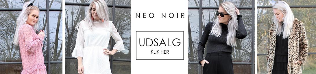 Neo Noir logo og pige i sommertøj og vintertøj