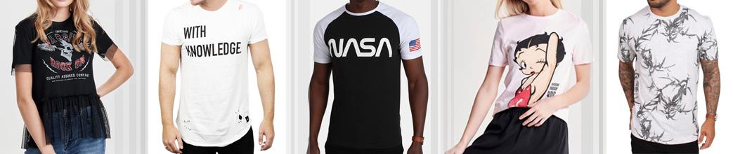 Mænd og kvinder i T-shirts med print