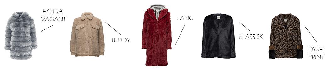 Faux fur frakker i forskellige farver og designs