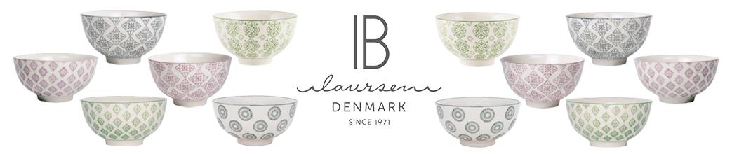 Ib Laursen logo og keramik i støvede pastelfarver