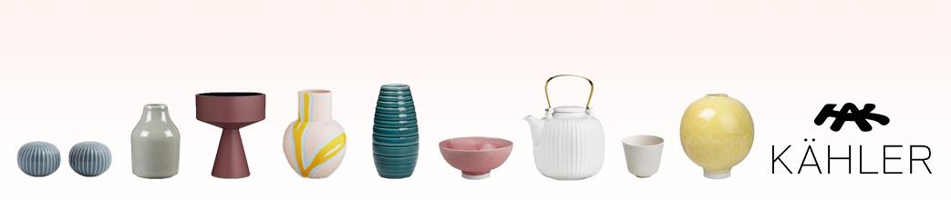 Kähler keramik i forskellige former og farver