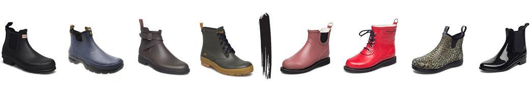 Korte gummistøvler til mænd og kvinder i forskellige farver