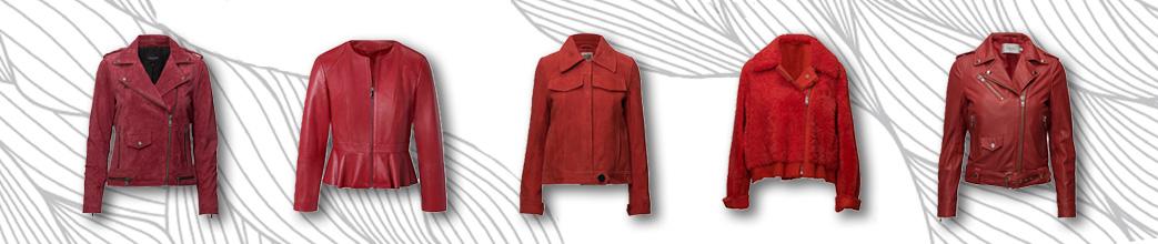Røde læderjakker i forskellige designs