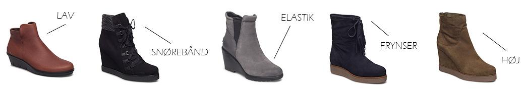 Høje og lave støvler med kilehæl og forskellige detaljer