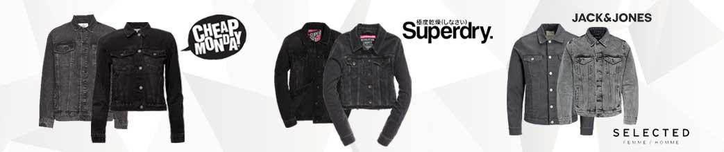 Sorte og grå denim jakker til mænd og kvinder fra populære brands