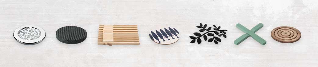 Bordskånere i forskellige materialer og former