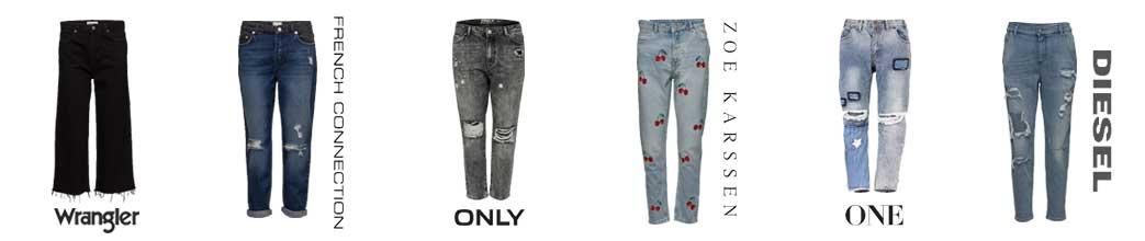 Sorte og blå boyfriend jeans fra forskellige brands