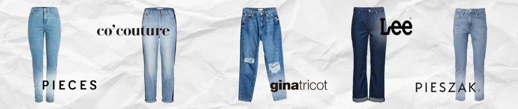 Blå mom jeans fra forskellige brands