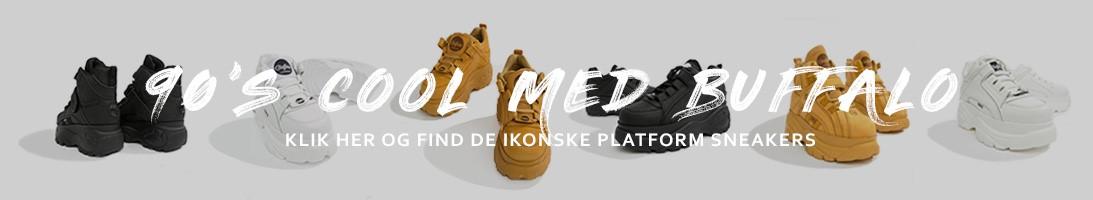 Buffalo platform sneakers i sort, hvid og gul