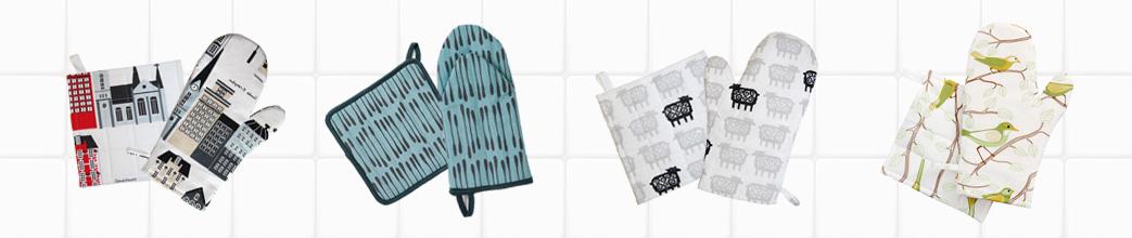 Grydelapper og handsker med forskellige mønstre