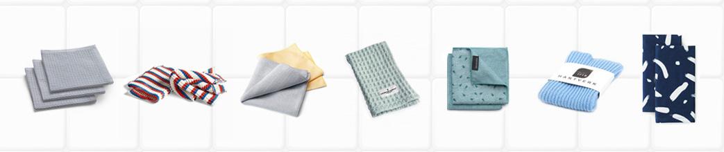 Karklude i forskellige farver og materialer