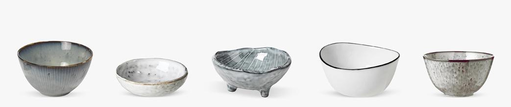Keramikskåle i blå og grå toner