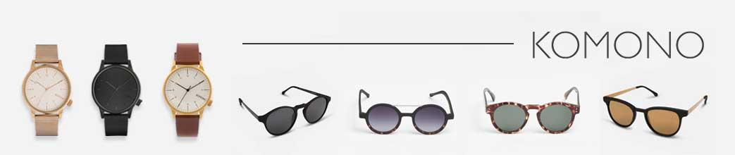 Komono ure og solbriller i forskellige designs