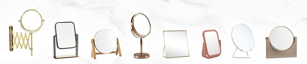 Makeup spejle i forskellige materialer