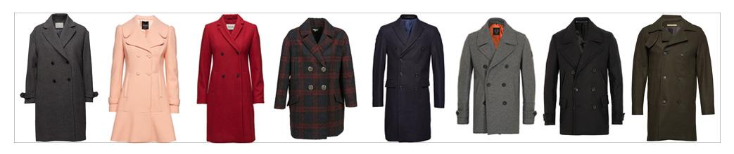 Peacoat frakker til mænd og kvinder i forskellige farver