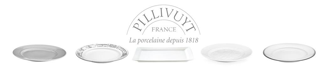 Forskellige, hvide tallerkner fra Pillivuyt