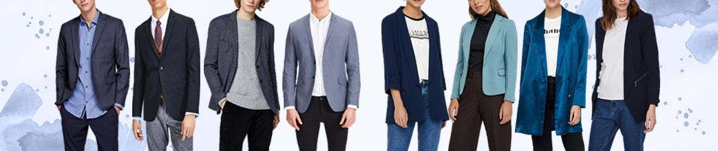 Mænd og kvinder i blå blazere i forskellige nuancer