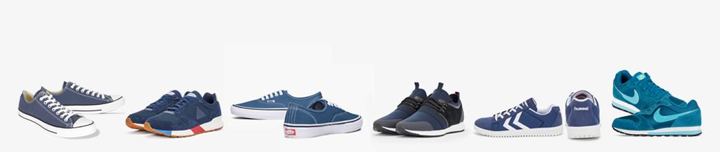 Blå sneakers til mænd og kvinder i forskellige nuancer