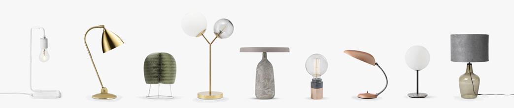 Bordlamper i forskellige designs og materialer