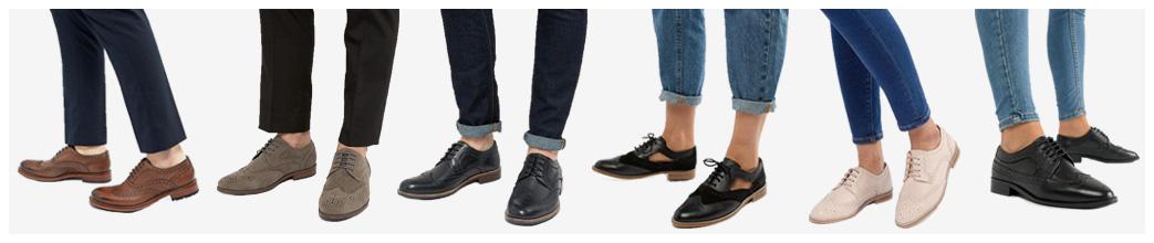 2215a8fb3b87 Brogue sko til mænd og kvinder i ægte læder og imiteret læder