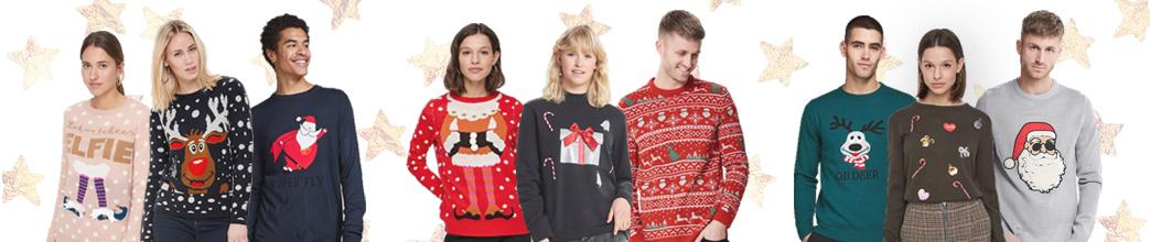 Mænd og kvinder i Christmas sweaters og stjerner i baggrunden