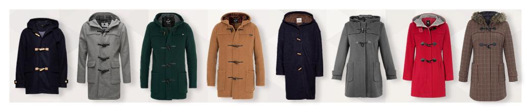 Duffelcoats til mænd og kvinder i forskellige farver