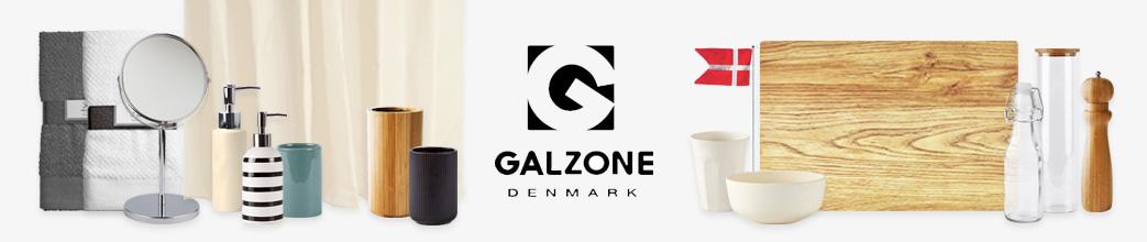 Galzone logo, badeværelsesitems, køkkenitems
