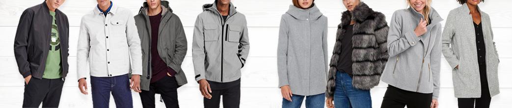 Mænd og kvinder i grå jakker til forskellige sæsoner