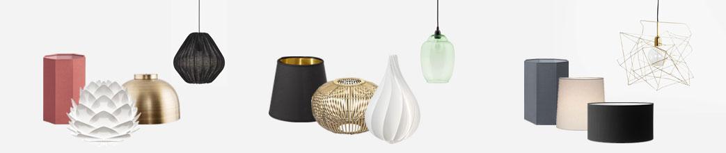 Lampeskærme i forskellige materialer og størrelser