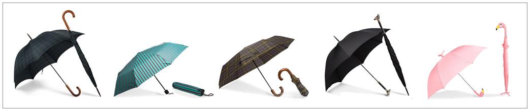 Paraplyer i forskellige designs og størrelser