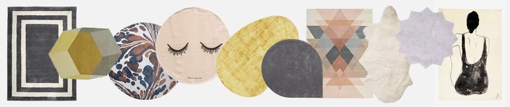 Runde og firkantede gulvtæpper i dæmpede farver