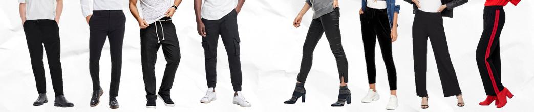 Mænd og kvinder i sorte bukser med forskellige snit og pasformer