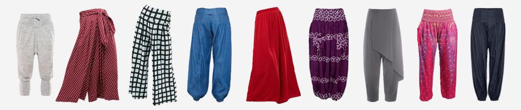 Ensfarvede og mønstrede haremsbukser. Røde, blå, grå, tern, prikker.
