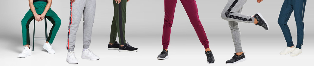 Joggingbukser til herre og dame. Grå, røde, grønne og blå.
