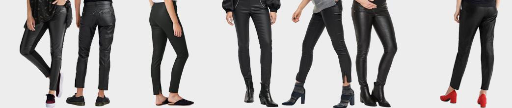 Sorte læderbukser til kvinder.