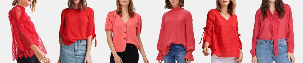 Røde bluser til kvinder. Højhalset, løstsiddende eller med knapper.