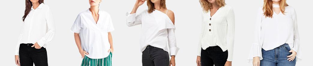 Hvide bluser til dame. Langærmet og kortærmet.