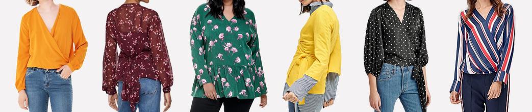 Slå-om-bluser med blomster, prikker, striber