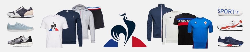 Sko og træningstøj fra Le Coq Sportif, blandt andet t-shirts, sweatshirts og shorts.
