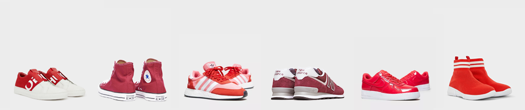 Røde sneakers til herre og dame fra Converse, Adidas og andre brands.